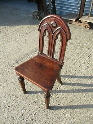 A Victorian 19th Century Mahogany Gothic Hall Chair Carved Back Antique