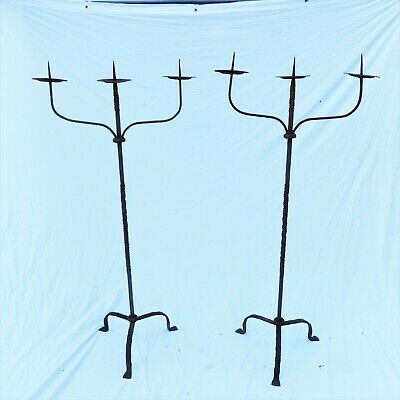 Pair Wrought Iron Torcheres Candelabra, Hand Forged New Jersey - Game of Thrones