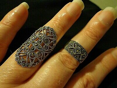 Antique Vintage Sterling 925 Marcasite Ring Lot Of 2 Art Deco Style Great!