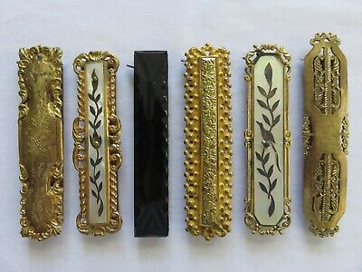 Antique Lot of 6 Bar Pins/Brooches Late 1800's Gold tone Metal Clasps w/Teeth