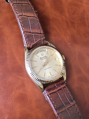 Vintage Bulova Super Seville Day Date Automatic Men's Watch gold Plated