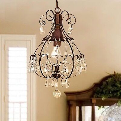Rustic Chandelier Centerpiece Crystal Light Fixture Farmhouse Shabby Chic Lamp