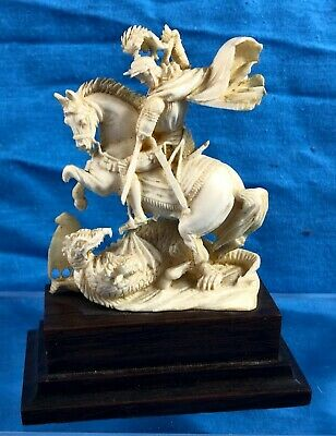 Stunning  Asian Carved Figure Of George And The Dragon On Wooden Plinth