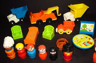 Lot 11 VTG Fisher Price Little People RARE Dump Truck Indian 934 Cowboy Race Man