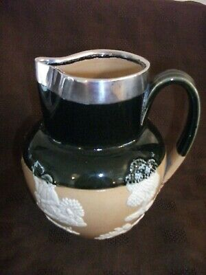 Large Doulton Lambethware Sterling Silver Rimmed Green Glaze Jug 6½ Inch Tall
