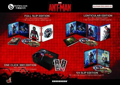 """ANT-MAN  BLUFANS """"ONE CLICK"""" NUMBERED BLU RAY STEELBOOK SET w/ BOX etc."""