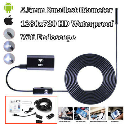 5.5MM Smallest Wifi Inspection Camera Endoscope for Car Repair Sewer Pipe iPhone