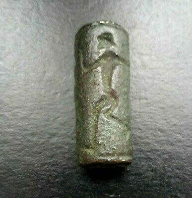 ANCIENT PERSIAN BRONZE INTAGLIO CYLINDER SEAL BEAD HUNTER & ANTELOPE c 500 BC