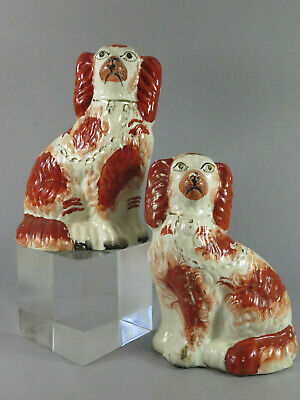 Antique Staffordshire Flatback Wally Dugs ~ Wally Dogs Liver Coloured Spaniels