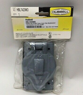 Hubbell HBL7423WO Power Cover Plate Weatherproof Thermoplastic Gray HBL7423W0