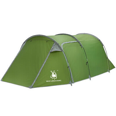 5-6 Person Family Camping Tunnel Tent Two-Room Waterproof Hiking Cabin Dome Tent