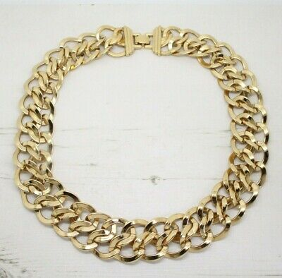Statement Vintage 1980s Signed MONET Double Link Gold Collar NECKLACE Jewellery