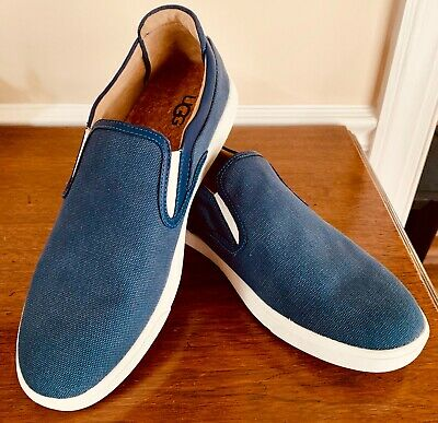 447cceeb3e4 UGG AUSTRALIA MATEO Canvas 1019626 Shipyard Blue Slip-On Sneaker Shoes  Men's 10
