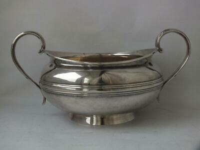 Large Antique Georgian Solid Sterling Silver Sugar Bowl 1825/ L 19.5 cm/ 327 g