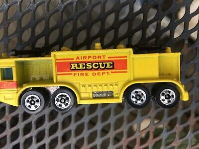 Vintage Toy Car HOT WHEELS 1979 AIRPORT RESCUE Fire Department Yellow Truck