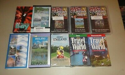 Travel Videos (VHS Lot of 10) Italy, England, Ireland Switzerland Some Brand New