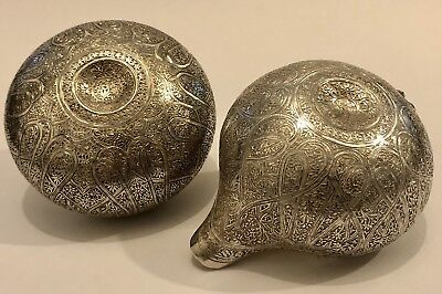 Exquisite Quality Antique Islamic Persian Indian Kashmir Solid Silver Bowl & Jug