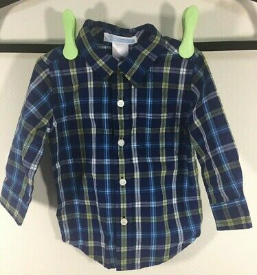 Janie and Jack Infant Shirt Long Sleeve Button Down 3 to 6 Months Blue Plaid