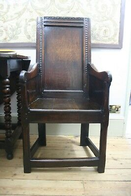 17th Century Panelled Oak Armchair Wainscot Chair Lambing