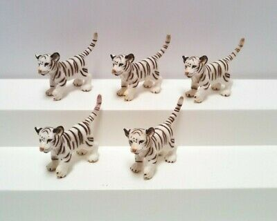 Schleich White Tiger Cub Lot Of 5 Wildlife Animal Figures