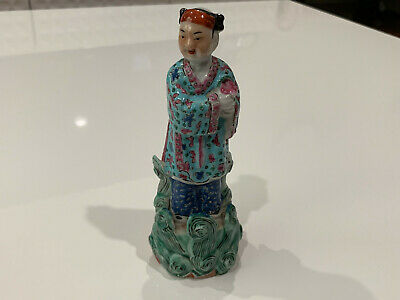 Vintage Antique Chinese Signed Porcelain Statue Figurine of Woman Holding Flower