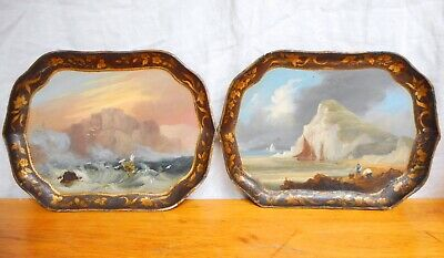 Antique Pair of Scenic Hand Painted Paper Mache Trays Mid 19th Century