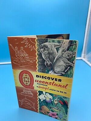 1950'S Discover Queensland Australia Pull Out Brochure Map