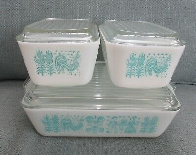 6 Piece Vintage Pyrex Turquoise Butterprint Amish Covered Refrigerator Dish Set