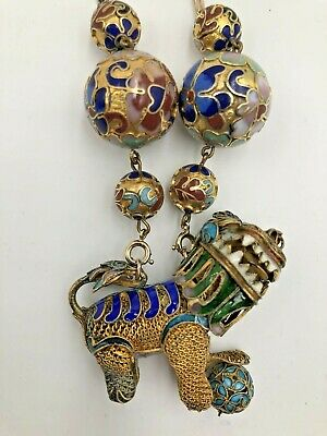 Antique Chinese Export Gilded Brass Filgree Enamel Lion Foo Dog Pendant Necklace