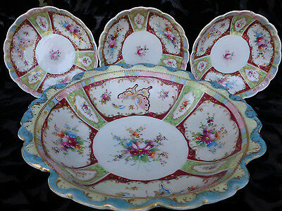 """Nippon Huge Bowl 10.25""""&3 Small Bowls 5.5"""" Moriage, Floral And Butterflies Gold"""