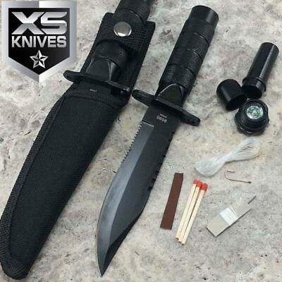 "8.5"" Heavy Duty Steel Serrated Blade Black Mini Hunting Survival Knife w/ Sheath"