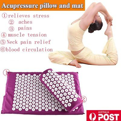 Acupressure Mat and Pillow Set Hypoallergenic Relief of Stress/Pain/Tension G
