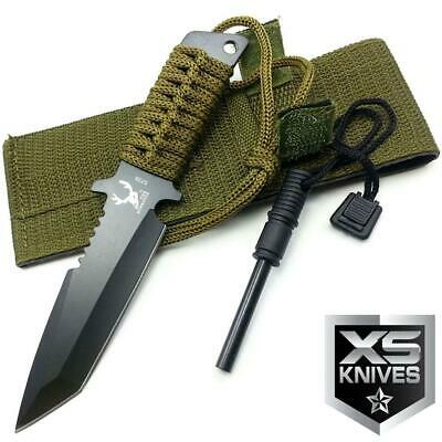 "7"" JTEC Survival Tanto Blade Bowie Hunting Camping Knife with FIRE STARTER"