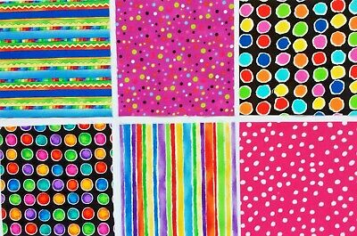 26 BRIGHT STRIPES & DOTS Cotton Quilt Patchwork Fabric Squares  MULTI-COLORED