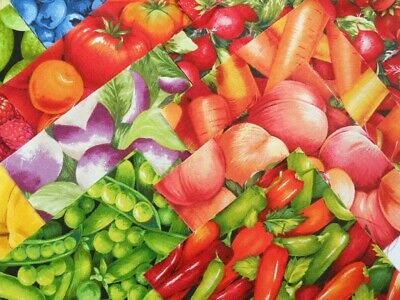 "34 FRUIT & VEGETABLES BRIGHT Novelty Cotton Quilt Patchwork Fabric 5""  Squares"