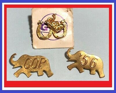 3 -Republican Elephant Logo -Campaign pins, G.O.P. ,1956 and Gulf