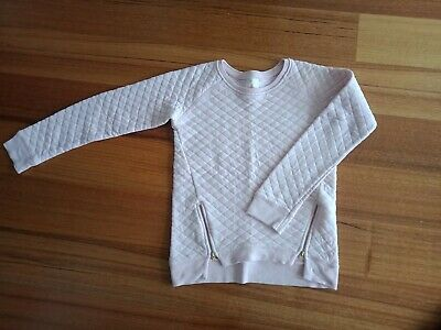 Country Road Girls Jumper Pale Pink Waffle Fabric with Zip Feature Size 12