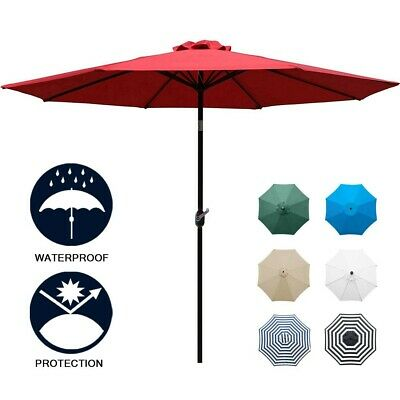 2395f03654 YESCOM 9FT WOODEN Outdoor Patio Green Umbrella W/Pulley Market ...