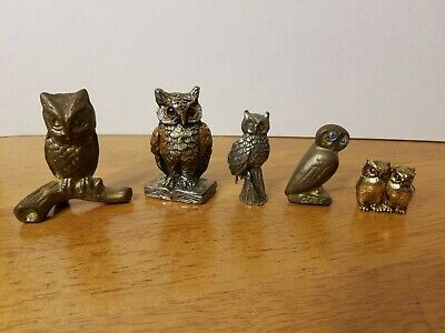 Vintage Cast Metal Owl Figurines Paperweights Mixed Lot