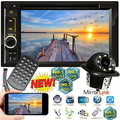 """Cam+6.2"""" Double Din Car Stereo Radio CD DVD Player 1080p Mirrors For Android&IOS"""