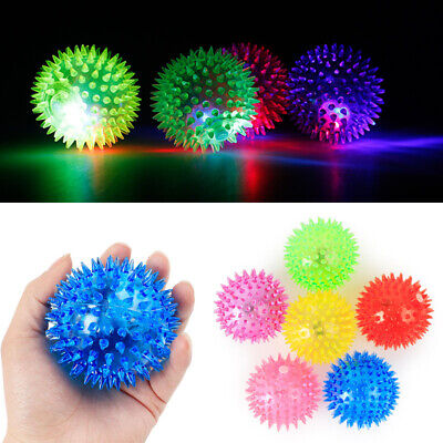 Pet Cat Dog LED Flash Light Hedgehog PVC Ball Chew Squeaky Spiky Play Funny Toy