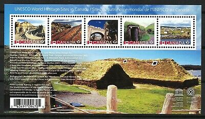 CANADA 2017 UNESCO ATTRACTIONS PLACES MNH (1 sheet with 5 stamps)