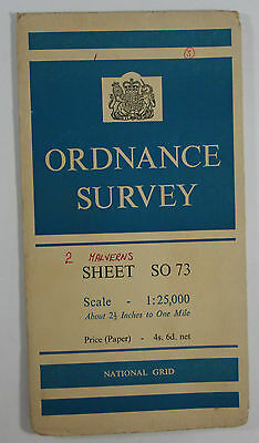 1959 old vintage OS Ordnance Survey 1:25000 First Series Prov Map SO 73 Ledbury