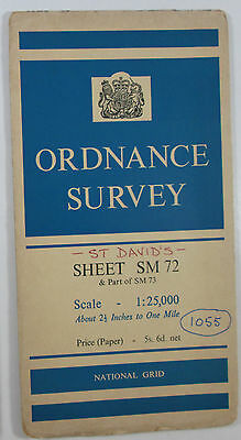 1958 old vintage OS Ordnance Survey 1:25000 First Series map SM 72 St David's