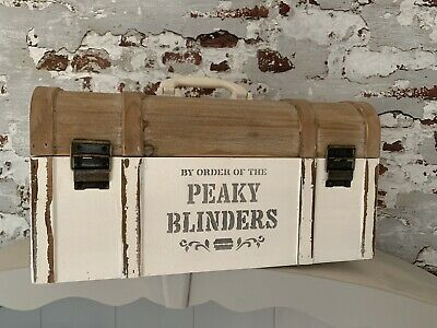 Peaky Blinders Painted Vintage Woodwn Chest Storage Trunk Chic Home Decor