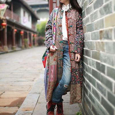 Chinese Retro Women's Linen Maxi Jacket Knot Button Floral Collar Cheongsam Coat