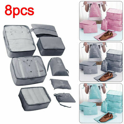 8Pcs Packing Cubes Travel Pouches Luggage Organiser Clothes Suitcase Storage Bag