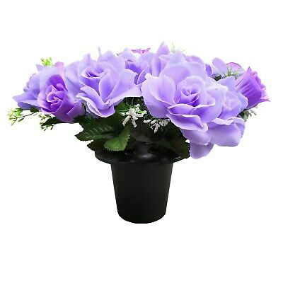 Grave Artificial/Silk open rose flower arrangement in a memorial pot / crem vase