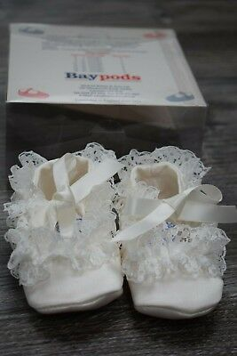 Baypods Vintage Baby Shoes Size 1 3-6 months White Satin Lace Ribbon Baptism