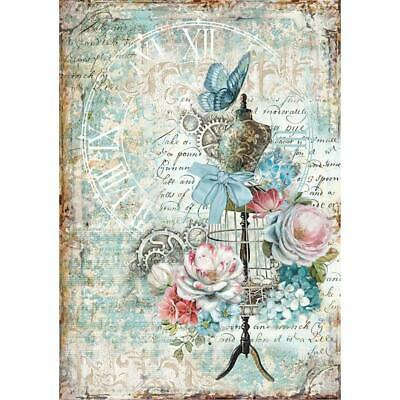Stamperia Rice Paper MANNEQUIN & BUTTERFLY A4 Sheet DFSA4239 Decoupage/Journal